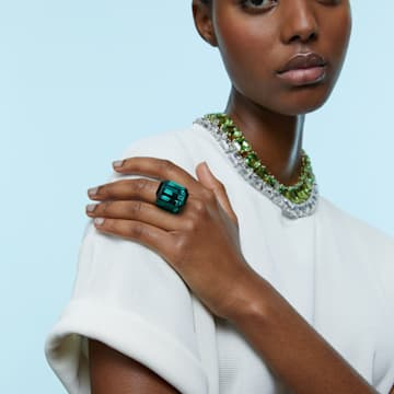 Lucent cocktail ring, Green - Swarovski, 5607345