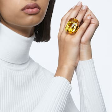 Lucent cocktail ring, Oversized crystal, Yellow - Swarovski, 5607359