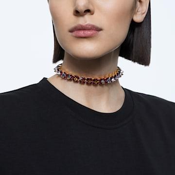 Chroma choker nyaklánc, Tüskemetszésű kristályok, Lila, Aranytónusú bevonattal - Swarovski, 5608714