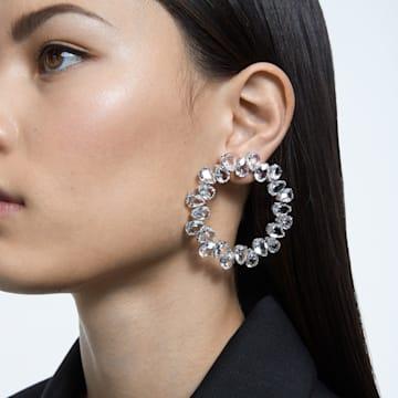 Millenia 穿孔耳环, 环形切割, 白色, 镀铑 - Swarovski, 5608814