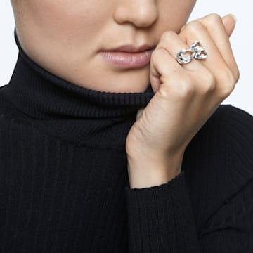 Millenia cocktail ring, Pear cut crystals, White, Rhodium plated - Swarovski, 5609000
