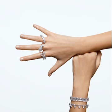 Millenia cocktail ring, Set, White, Rhodium plated - Swarovski, 5609006