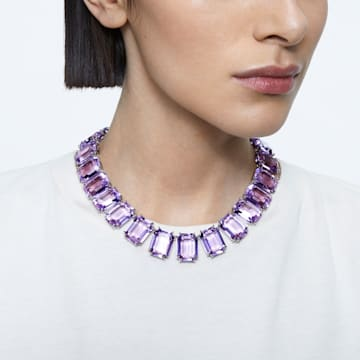 Millenia ketting, Achthoekig geslepen kristallen, Paars, Rodium toplaag - Swarovski, 5609701