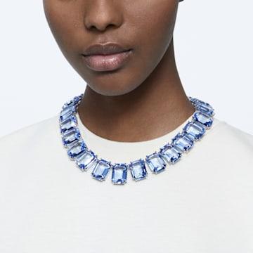 Millenia Halskette, Kristalle mit Oktagonschliff, Blau, Rhodiniert - Swarovski, 5609703