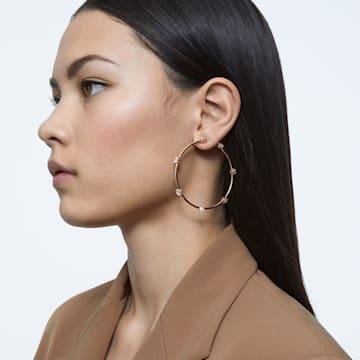Constella hoop earrings, White, Rose-gold tone plated - Swarovski, 5609706