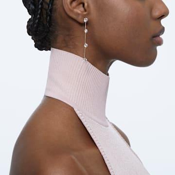 Constella earrings, Asymmetrical, White, Rose-gold tone plated - Swarovski, 5609707