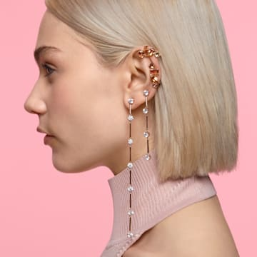 Constella earrings, Asymmetrcial, White, Rose-gold tone plated - Swarovski, 5609707