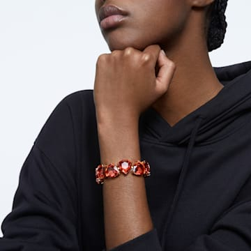 Bracelet Millenia, Cristaux taille triangle, Orange, Métal doré - Swarovski, 5609713