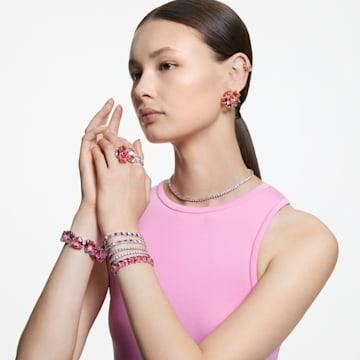 Millenia 手鏈, 三角形切割Swarovski水晶, 粉紅色, 鍍白金色 - Swarovski, 5609714