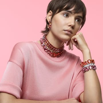 Millenia 브레이슬릿, 트릴리언트 컷 크리스털, 핑크, 로듐 플래팅 - Swarovski, 5609714
