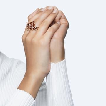 Curiosa 个性戒指, 三角形切割, 橙色, 镀金色调 - Swarovski, 5610289