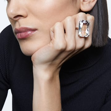Mesmera Cocktail Ring, Übergroßer Kristall, Weiss, Rhodiniert - Swarovski, 5610368