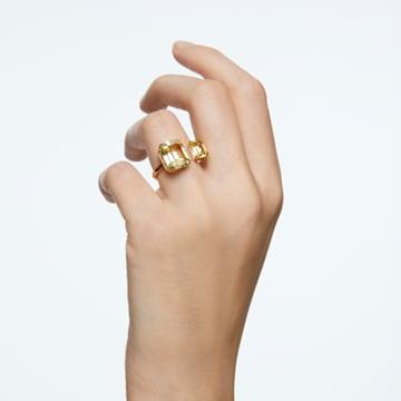 Anillo de cóctel Millenia, Cristales de talla cuadrado, Amarillo, Baño tono oro - Swarovski, 5610388
