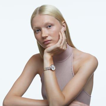 Attract 腕表, 金属手链, 白色, 玫瑰金色调 PVD - Swarovski, 5610487
