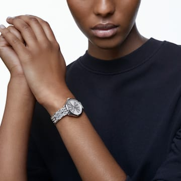 Attract 腕表, 金属手链, 白色, 不锈钢 - Swarovski, 5610490