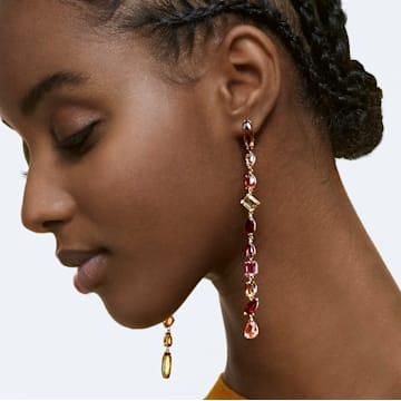 Gema 水滴形耳环, 超长, 流光溢彩, 镀金色调 - Swarovski, 5610725