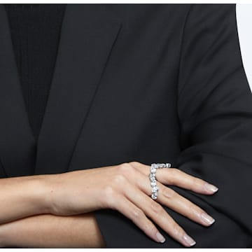Millenia cocktail ring, Set, White, Rhodium plated - Swarovski, 5610737