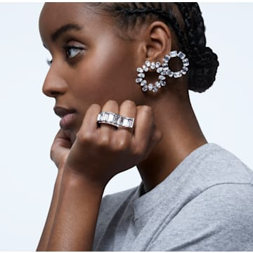 Matrix ring, White, Rhodium plated - Swarovski, 5610740