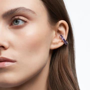 Millenia ear cuff, Octagon cut Swarovski zirconia, Purple, Rhodium plated - Swarovski, 5612669