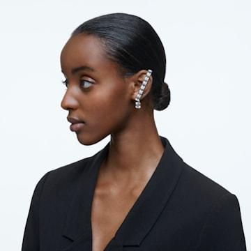Millenia ear cuff, Single, Octagon cut crystal, White, Rhodium plated - Swarovski, 5612670