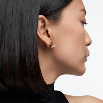 Chroma stud earrings, Pyramid cut crystals, Yellow, Gold-tone plated - Swarovski, 5613680