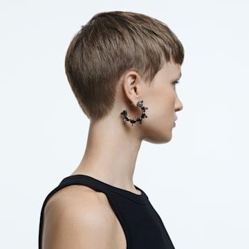 Chroma 大圈耳环, 金字塔形切割仿水晶, 灰色, 镀钌 - Swarovski, 5613681