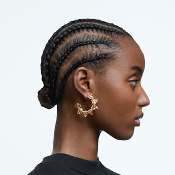 Chroma hoop earrings, Pyramid cut crystals, Yellow, Gold-tone plated - Swarovski, 5613722