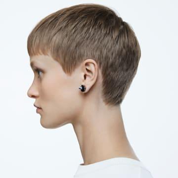 Chroma stud earrings, Pyramid cut crystals, Gray, Ruthenium plated - Swarovski, 5613723