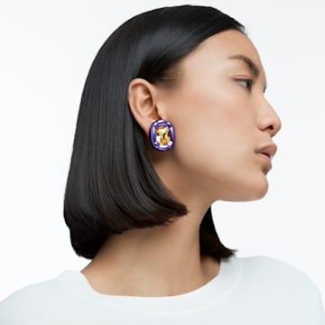 Dulcis clip earrings, Cushion cut crystals, Purple - Swarovski, 5613729