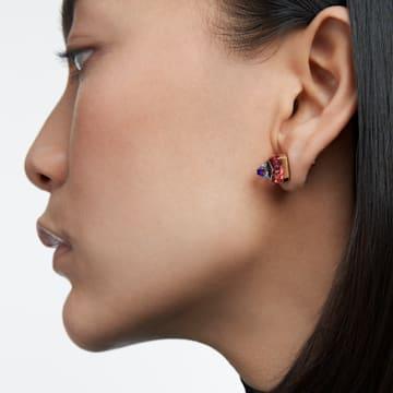 Chroma 耳钉, 金字塔形切割仿水晶, 粉红色, 镀金色调 - Swarovski, 5614062