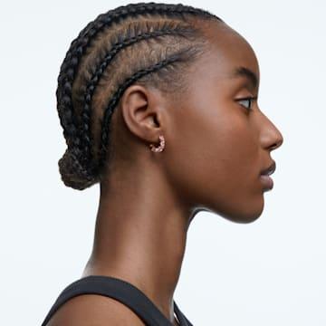 Millenia 大圈耳环, 三角形切割Swarovski皓石, 小码 , 粉红色, 镀玫瑰金色调 - Swarovski, 5614930