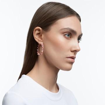 Millenia 大圈耳环, 三棱形切割仿水晶, 粉红色, 镀玫瑰金色调 - Swarovski, 5614931