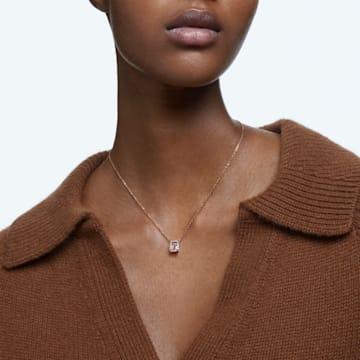 Millenia 项链, 八角形切割 Swarovski 皓石, 粉红色, 镀玫瑰金色调 - Swarovski, 5614933