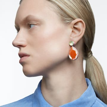Orbita 穿孔耳环, 不对称, 水滴切割仿水晶 , 流光溢彩, 镀铑 - Swarovski, 5616019