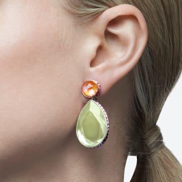 Orbita earrings, Asymmetrical, Drop cut crystals, Multicolored, Rhodium plated - Swarovski, 5616019