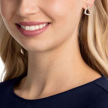 Lovely 穿孔耳环, 白色, 镀玫瑰金色调 - Swarovski, 5616477