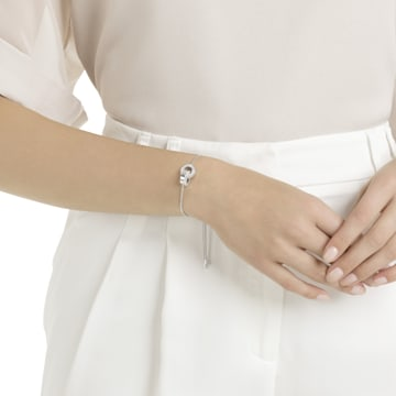 Hollow bracelet, White, Rhodium plated - Swarovski, 5616478