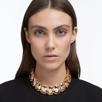 Harmonia 束颈项链, 超大悬浮仿水晶, 黄色, 镀金色调 - Swarovski, 5616516