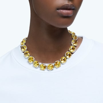 Harmonia 束颈项链, 枕形切割仿水晶, 黄色, 镀铑 - Swarovski, 5616522