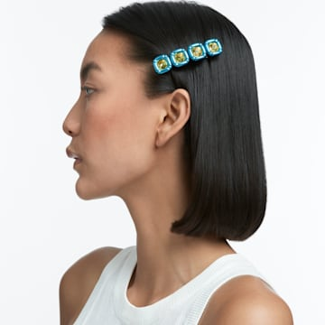 DLC002 发夹, 枕形切割仿水晶, 蓝色, 镀金色调 - Swarovski, 5617239