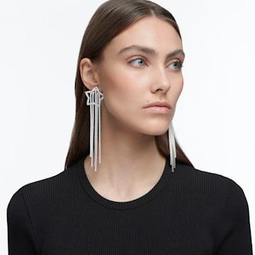 Stella clip earrings, Star, White, Rhodium plated - Swarovski, 5617755