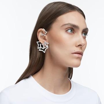 Stella 耳骨夹, 单个, 套装 (3), 星星, 白色, 镀铑 - Swarovski, 5617757