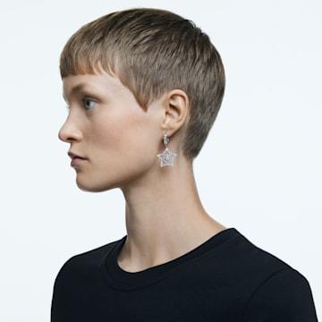 Stella hoop earrings, White, Rhodium plated - Swarovski, 5617767