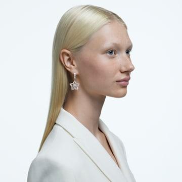 Stella 大圈耳环, 白色, 镀玫瑰金色调 - Swarovski, 5617769