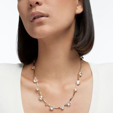 Constella 项链, 圆形切割仿水晶, 白色, 镀金色调 - Swarovski, 5618033