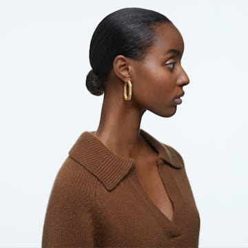 Dextera 大圈耳环, 八角形切割密镶仿水晶, 大码, 白色, 镀金色调 - Swarovski, 5618304
