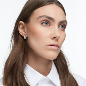 Dextera 大圈耳环, 密镶, 白色, 镀铑 - Swarovski, 5618306