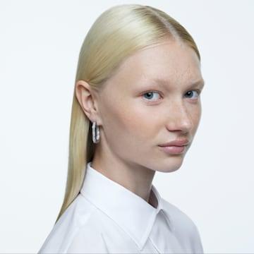 Dextera hoop earrings, Octagonal, Full pavé, Medium, White, Rhodium plated - Swarovski, 5618308