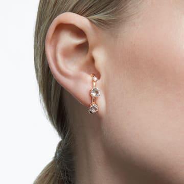 Constella 大圈耳环, 白色, 镀玫瑰金色调 - Swarovski, 5620130