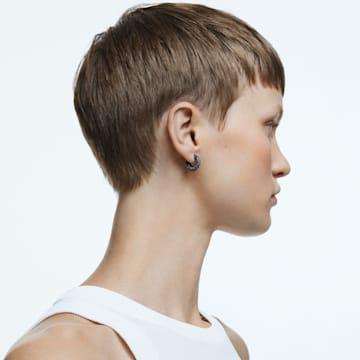Dextera hoop earrings, Pavé, Black, Ruthenium plated - Swarovski, 5620222